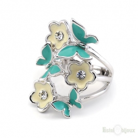 Butterflies and Flowers Enamel Ring