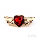 Red Heart and Wings Brooch