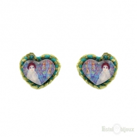 Crochet and Decoupage Heart Earrings