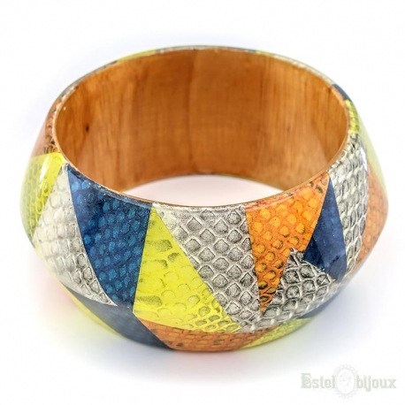 Multicolor Wood Rigid Bracelet