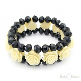 Roses and Black Crystals Elastic Bracelet