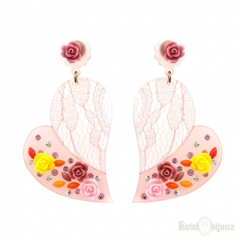 Orecchini Cuore Plexiglass e Fiori Rose