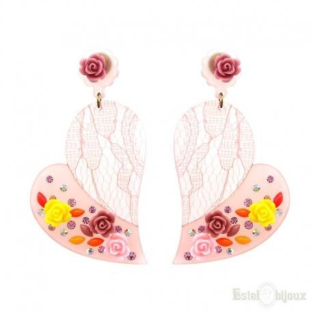 Heart and Flowers Rose Plexiglass Stud Earrings
