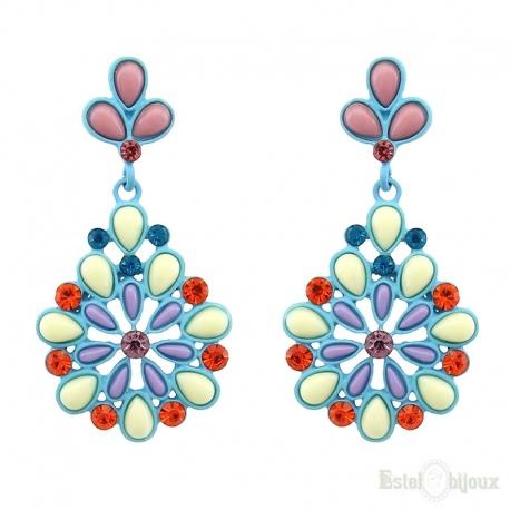 Pendants Multicolor Stone Strass Stud Earrings