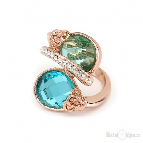 Azure Blue Stone Crystals Ring