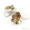 Flower in Fabric and Pearls Earrings