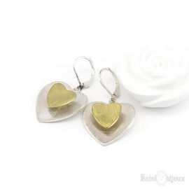 Double Heart Leverback Earrings