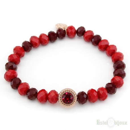 Red and Bordeaux Crystals Elastic Bracelet