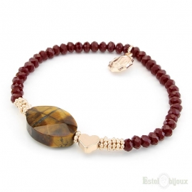 Tiger Eye and Red Crystals Elastic Bracelet