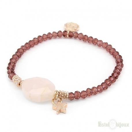 Rose Quartz and Crystals Elastic Bracelet