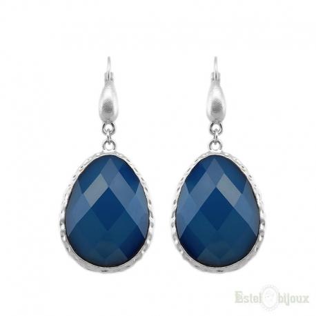 Drop Blue Crystal Leverback Earrings