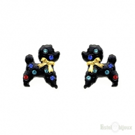 Dog Poodle Stud Earrings