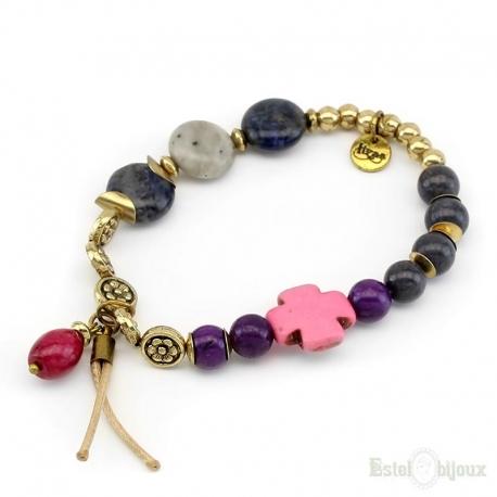 Stones and Balls Elastic Bracelet