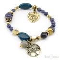 Tree of Life, Heart and Stones Elastic Bracelet