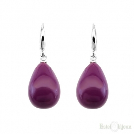 Purple Drop Leverback Earrings