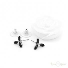 Three Black Leaves Stud Earrings