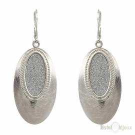 Oval Micro Pave Pendant Earrings