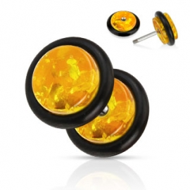Solid Synthetic Amber Fake Plug with O-Ring