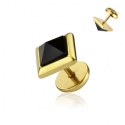 Onyx Pyramid Square CZ Fake Plug Gold IP