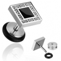 Black Square Inlay 16g Fake Plug