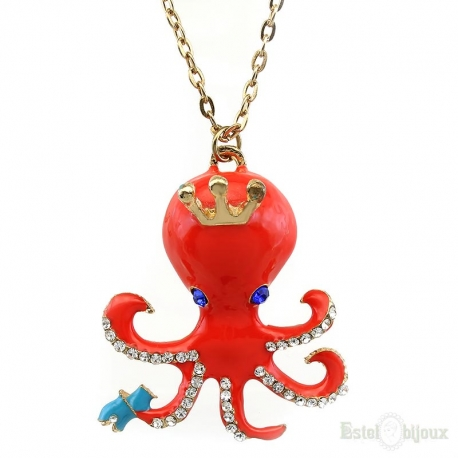 Orange Octopus Crystals Necklace