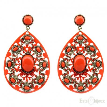 Acrilic and Filigree Orange Earrings