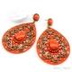 Orecchino Arancione Acrilico Goccia Filigrana