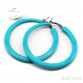 Blue Hoop Plastic Earrings