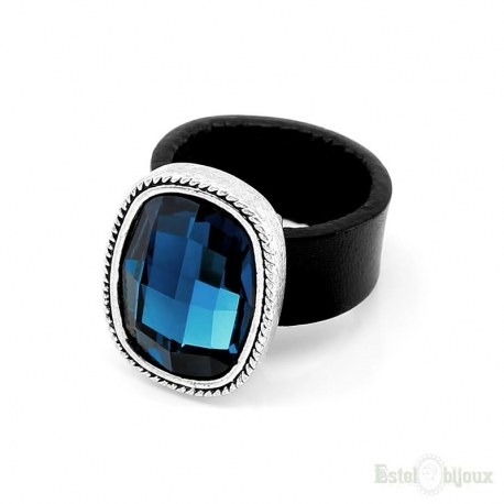 Crystal Blue Leather Ring