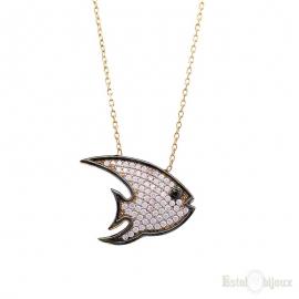 Collana Pesce in Argento e Zirconi