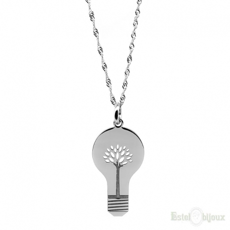 Light Bulb Tree of Life Silver Necklace