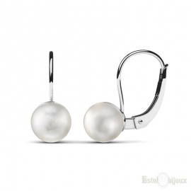 White Pearls Leverback Silver Earrings