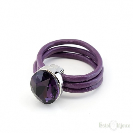 Purple Crystal Leather Ring