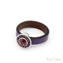 Purple Crystals Leather Ring