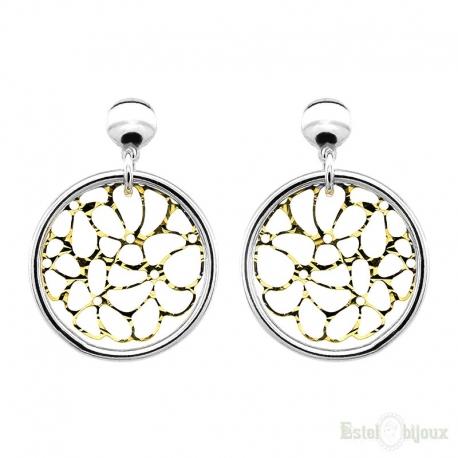 White Pearls Leverback Silver Earrings