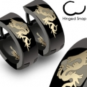 Dragon on Black Hinged Hoop Earring