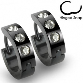Black Hinged with 3 Clear CZs Hoop Earring