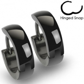 Black Hinged Hoop Earring