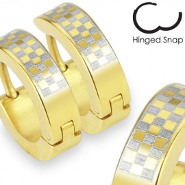 Orecchini Cerchio Color Oro Checker Design