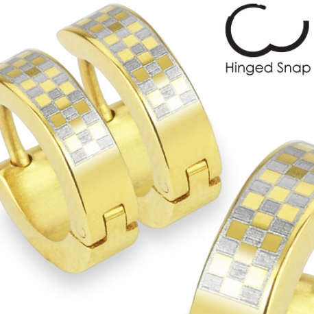 Gold Plated Checker Design Hoop Earring