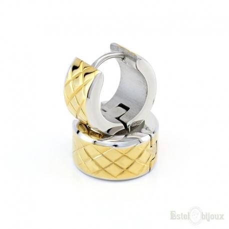 Grooved Diamond Grids Hoop Earring
