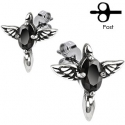 Angelic Winged Cross with Black CZ Stud Earring