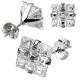 Multi Faceted Square Grid Gem Earring
