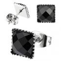 Multi Faceted Square Black Onyx Gem Earring