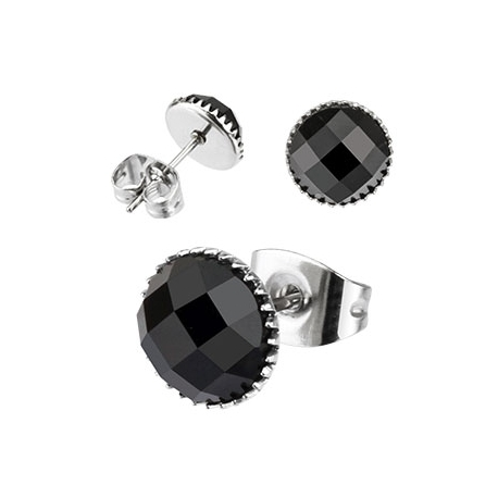 Multi Faceted Square Black Onyx Gem Earring