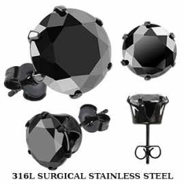 Black IP Plated with Round CZ Earring
