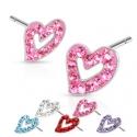 Multi Paved Hollow Heart Ferido Stud Earring
