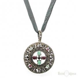Semi Precious Stones Silver Necklace