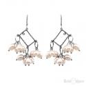 Cluster Rose Pearls River Silver Earrings
