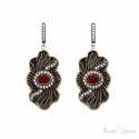 Ruby and CZ Vintage Style Silver Earrings